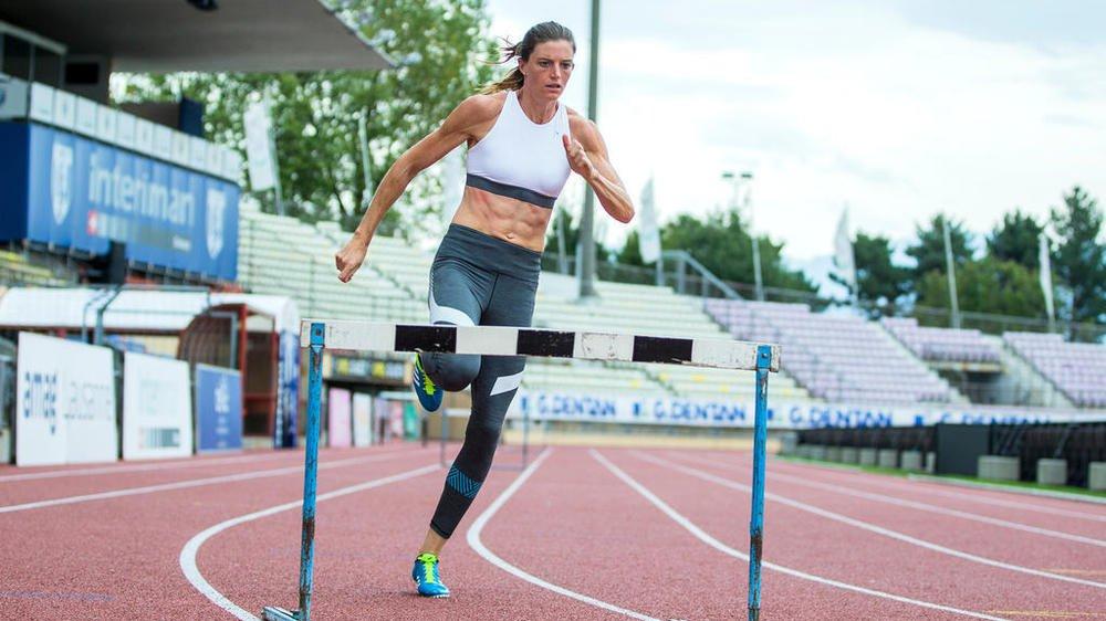 Lea Sprunger en plein effort lors d'un entraînement à la Pontaise.