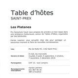 """Table d'hôtes """"Les Platanes"""" à Saint-Prex"""