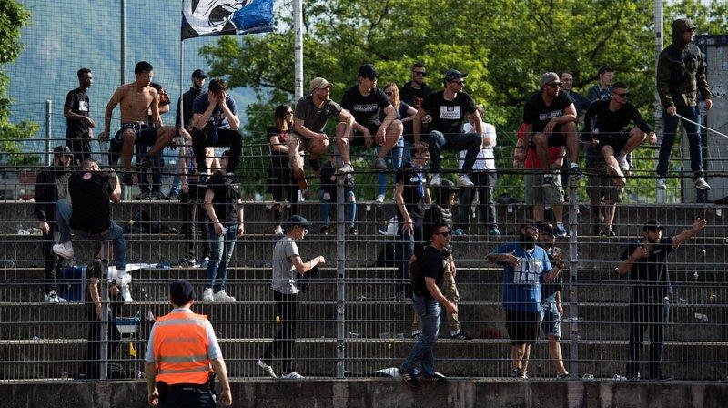 Les fans du Lausanne Sport, jeudi, à l'issue de la partie perdue par leur club contre Lugano.