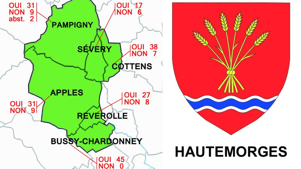 La carte des communes qui pourraient former Hautemorges. Le peuple votera sur cette fusion.