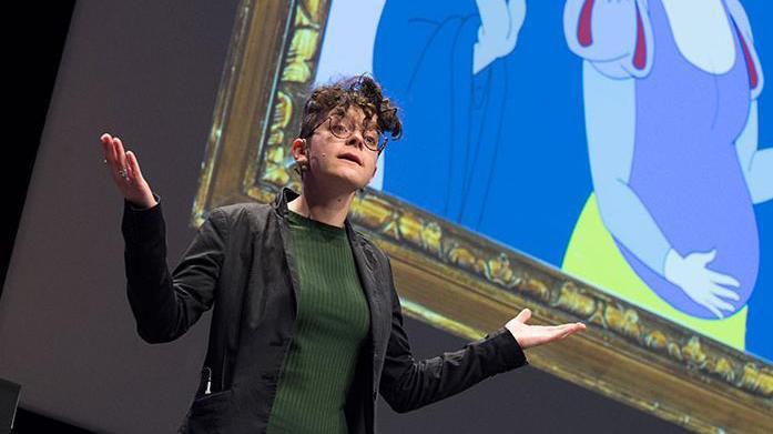 Leah Gilbert lors de sa présentation le 22 mars dernier, qui lui a ouvert les portes de la finale suisse.