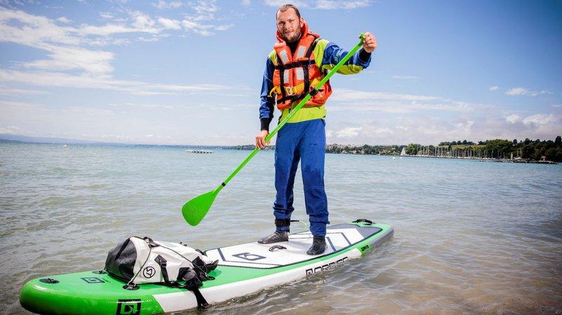 Ce Glandois boucle son troisième tour du Léman, en paddle cette fois
