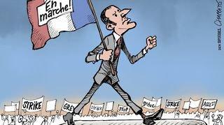 """Macron """"croqué"""" à la Maison du dessin de presse"""