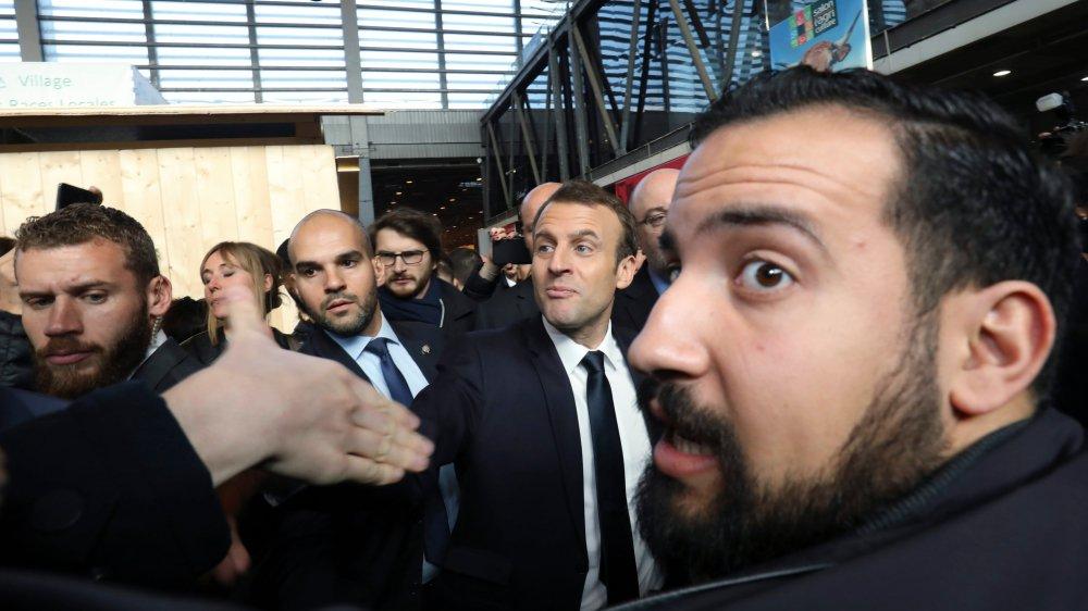 Emmanuel Macron et Alexandre Benalla au Salon de l'agriculture, le 24février dernier.