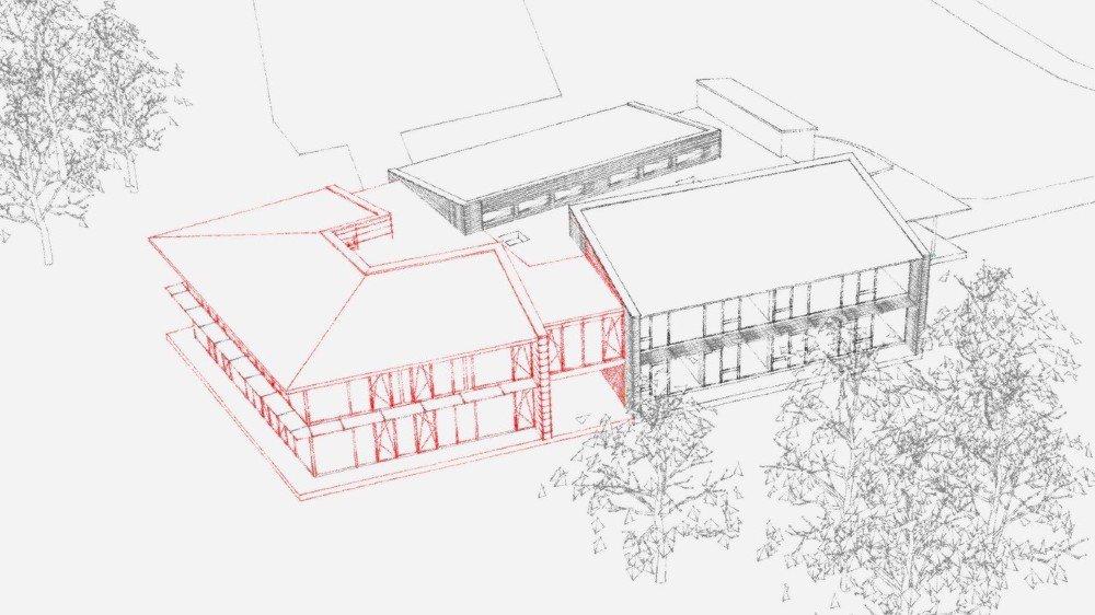 A gauche, l'extension prévue pour l'école de Pré-de-Vert.
