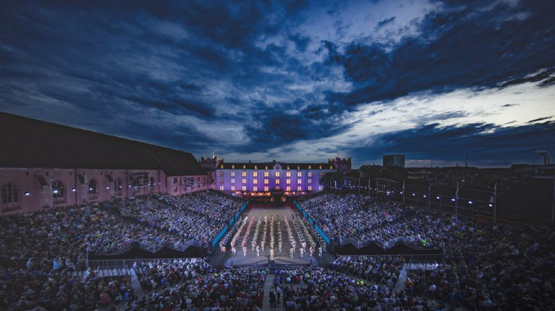 Bâle accueille dès vendredi le 13e festival de musique militaire, ici en 2017. (KEYSTONE/Patrick Straub)