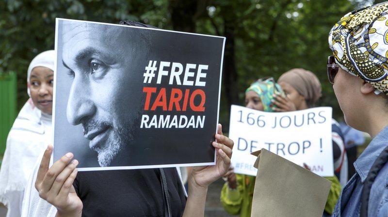 Une manifestation de soutien à Tariq Ramadan, ce mardi à Genève.