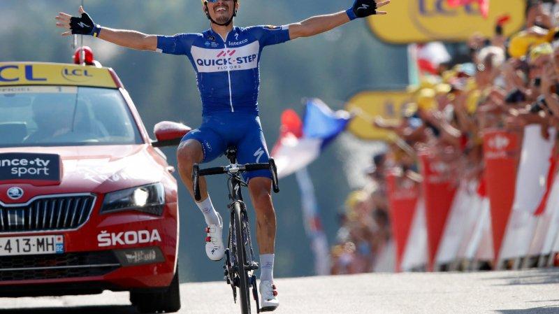 Tour de France: Alaphilippe gagne avec panache au Grand-Bornand