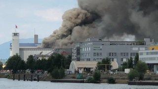 Incendie dans le port de Bâle