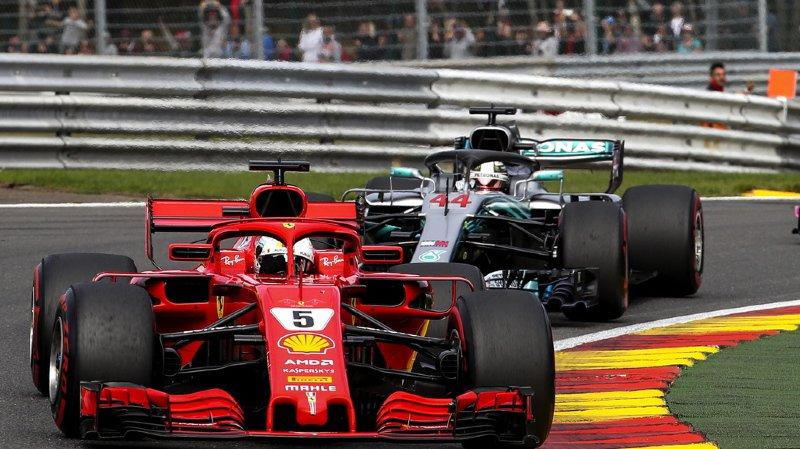 Formule 1: l'Allemand Sebastian Vettel et Ferrari remportent le Grand Prix de Belgique devant Lewis Hamilton