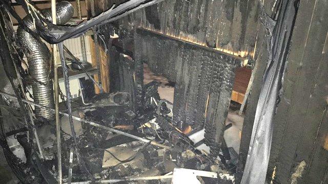 Les dégâts lors de l'incendie, lundi à Sainte-Croix.