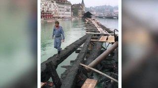 Il y a 25 ans, le Pont de la chapelle à Lucerne flambait