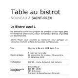 Table au bistrot au Bistro quai 1