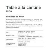 Table à la Cantine à Nyon