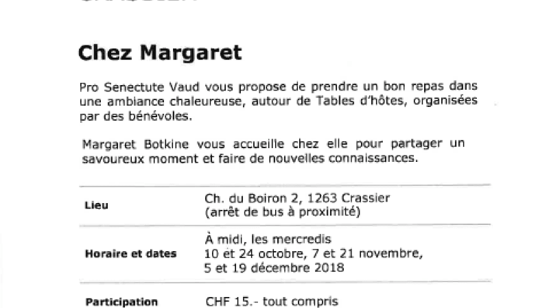 Table d'hôtes Chez Margaret
