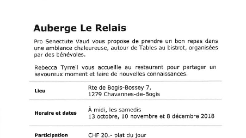 Tables au bistrot à l'Auberge Le Relais