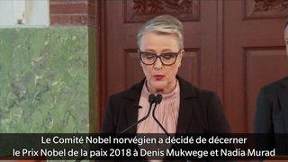 Le Nobel de la paix au Congolais Mukwege et à la Yazidie Murad