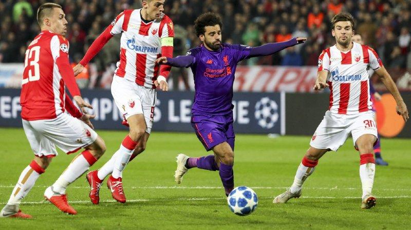Mohamed Salah et ses coéquipiers ont vécu une soirée compliquée face à l'Etoile Rouge de Belgrade.