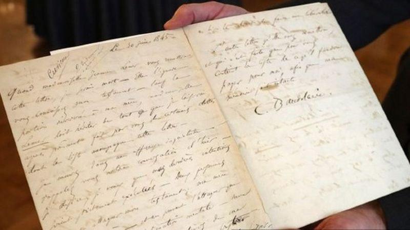 Cette lettre de Baudelaire, adressée à sa maîtresse Jeanne Duval, était estimée entre 68'000 et 91'000 francs environ.