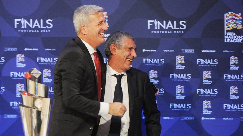 Les chemins du sélectionneur suisse Vladimir Petkovic (g.) et de son holomolgue portugais Fernando Santos vont se croiser à nouveau.