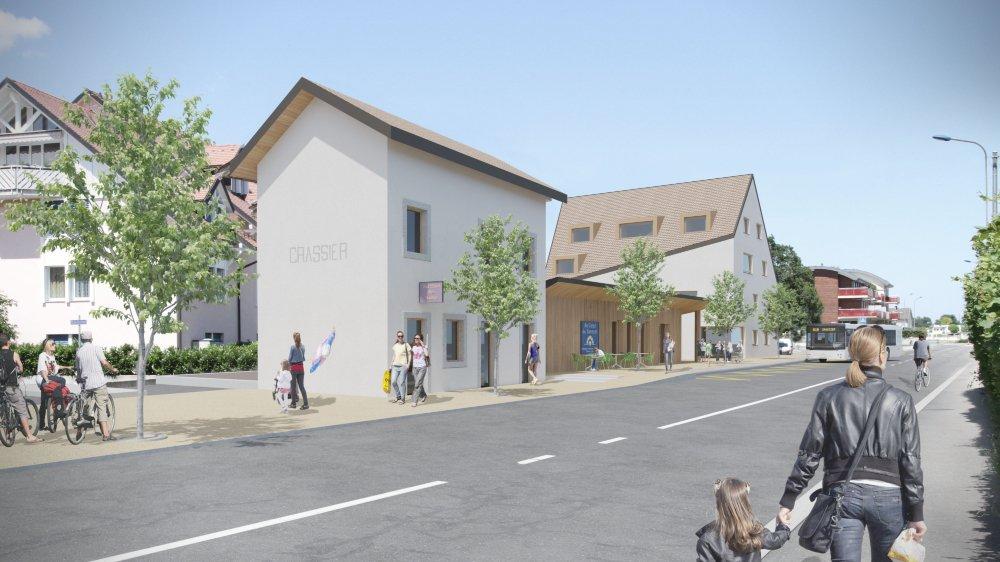 L'ancienne gare sera transformée et les vieux hangars à marchandises deviendront un commerce. Au fond, l'immeuble locatif qui devrait assurer le rendement du site, en mains communales.