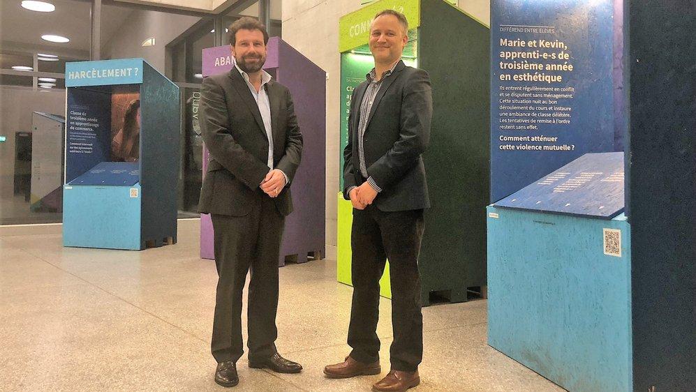 Jérôme Pittet (à g.), directeur de l'EPCN, et Jean-Louis Berger, professeur à l'IFFP.