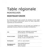 Table régionale - MONTRaid'union