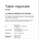 Table régionale - La Table de Béatrice et Yolande