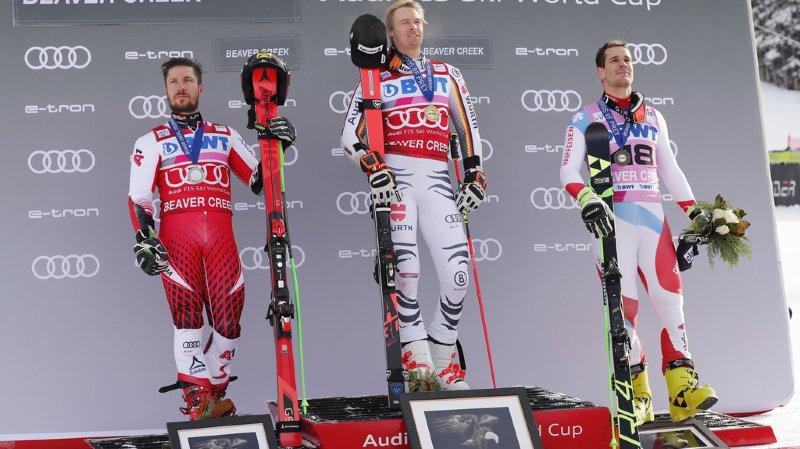 Marcel Hirscher deuxième, Stefan Luitz premier ainsi que le Suisse Thomas Tumler qui signe son premier podium avec une médaille de bronze.