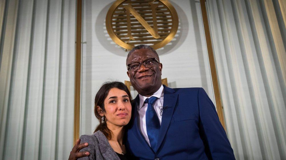 La Yazidie Nadia Murad et le Congolais Denis Mukwege, hier, à Oslo.