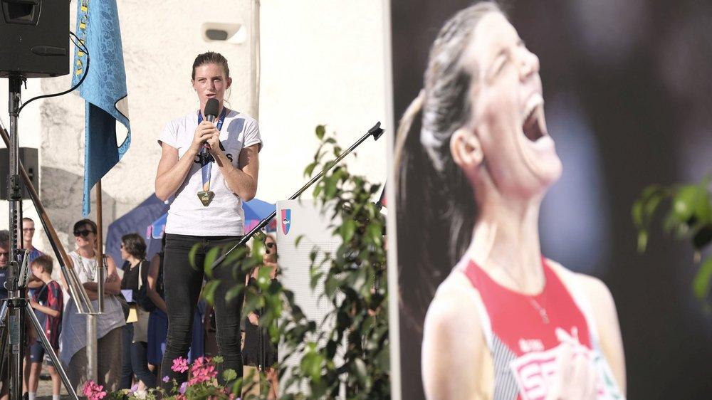 De retour sur ses terres, Lea Sprunger a été célébrée comme il se doit après son titre européen.