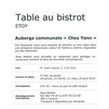 Table au bistrot « Chez Yann »