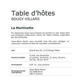 """Table d'hôtes """"La Martinette"""""""