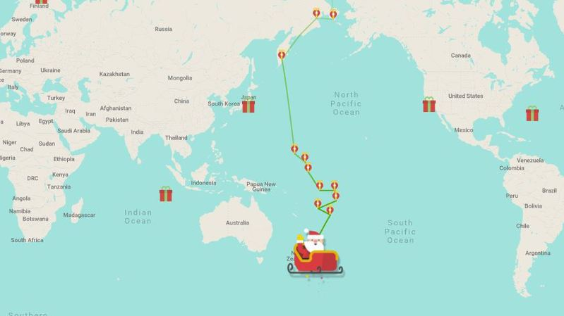 Il est possible de suivre, en direct, les déplacements du Père Noël à travers le monde.