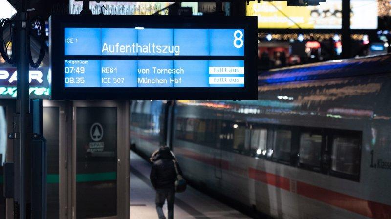 La grève des cheminots de la compagnie Deutsche Bahn a paralysé le trafic ferroviaire allemand une bonne partie de la matinée, lundi.