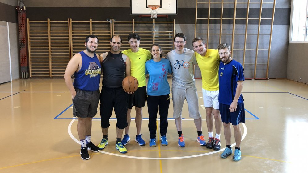L'équipe morgienne de Second Spectrum avec, de gauche à droite, Drew, Horesh, Félix, Nadia, Charles, Frederik et David.