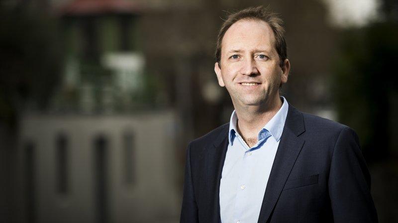 Axel Marion, candidat du PDC Vaud pose lors d'une conférence de presse du parti PDC Vaud à l'occasion de l'élection complémentaire au Conseil d'Etat vaudois.
