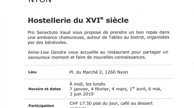 """Table au bistrot """"Hostellerie du XVIe siècle"""""""
