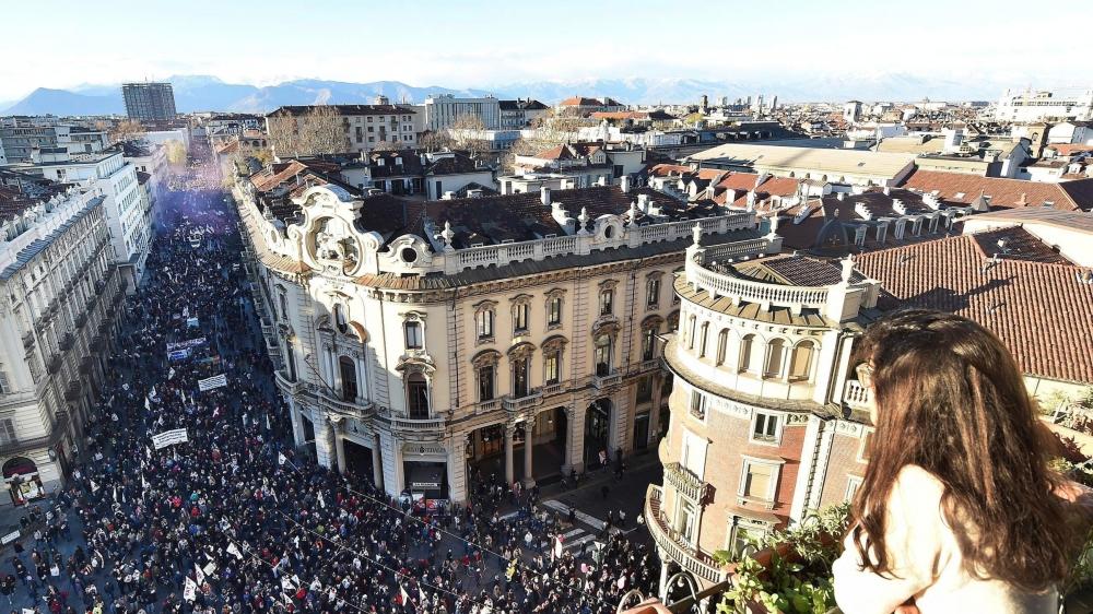 Depuis 2005, le M5S a été à l'avant-garde du combat contre la future ligne Lyon-Turin. Le 12janvier dernier encore, de nouvelles manifestations ont eu lieu contre ce projet, comme ici à Turin.