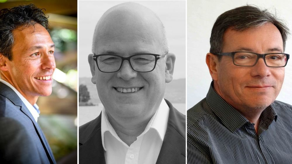 Anthony Hennard, Pierre Enderlin et Daniel Oberson (de g. à dr.) sont candidats à la Municipalité de Saint-Prex.