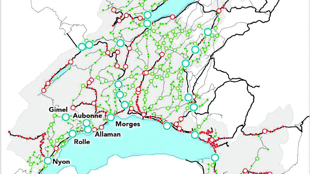 Les soutiens financiers et techniques de la Direction générale de la mobilité et des routes se manifesteront dans tout le canton. Les points bleus représentant les projets concernés par le premier crédit-cadre.