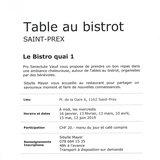 """Table au bistrot """"Le Bistro quai 1"""""""