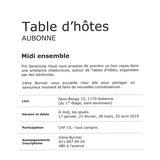 """Table d'hôtes """"Midi ensemble"""""""