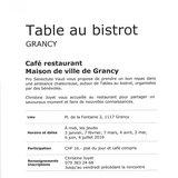 Table au bistrot à Grancy