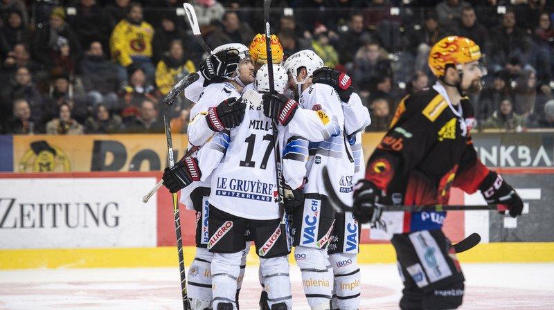 Hockey: Gottéron écrase le leader Berne, Lausanne gagne à Davos, Genève s'incline contre Langnau
