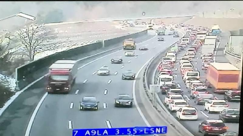 L'image de l'autoroute A9, publiée par la police.