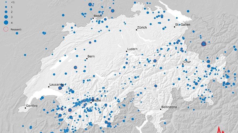 Plus de 900 séismes ont secoué la Suisse en 2018, dont deux on atteint une magnitude de 4,1