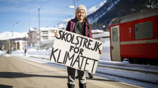 WEF 2019: Greta Thunberg, la jeune activiste de l'environnement, est arrivée à Davos