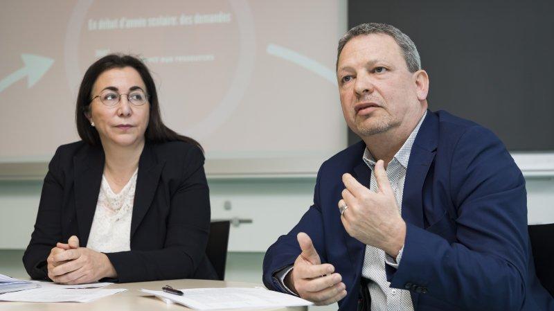 Cesla Amarelle, conseillère d'Etat vaudoise, et Giancarlo Valceschini, nouveau directeur général de l'enseignement obligatoire (DGEO) du canton de Vaud.