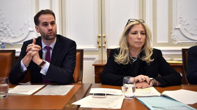 Nathalie Fontanet, conseillère d'Etat chargée du département des finances et des ressources humaines et Antonio Hodgers président du Conseil d'Etat et conseiller d'Etat chargé du departement du territoire.
